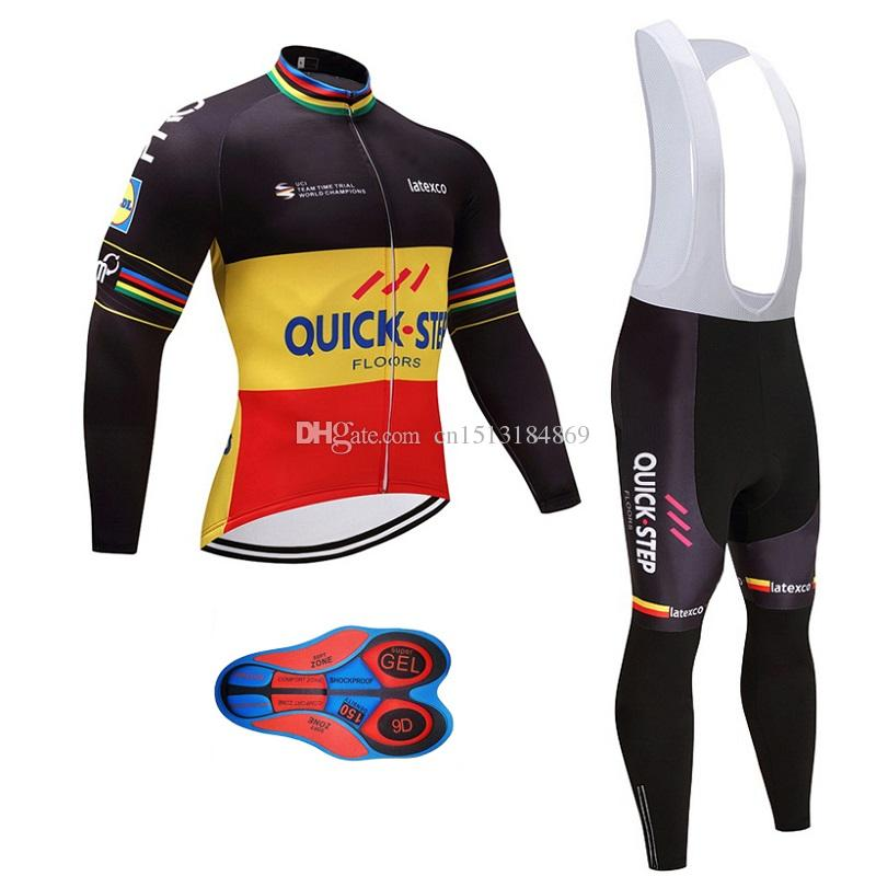 UCI 2018 Pro Team Quick Step Winter Thermal Fleece Cycling Jersey Kit Ropa  Ciclismo Invierno Bicycle Bike Clothing 9D Gel Pad Bib Pants Set Biker T  Shirt ... 7d548ae23