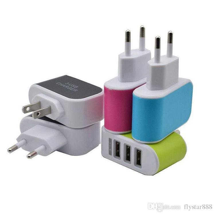 US EU Plug 3 USB Wall Chargers 5V 3.1A LED Adapter Travel Convenient Power Adaptor with triple USB Ports For Mobile Phone with opp bag