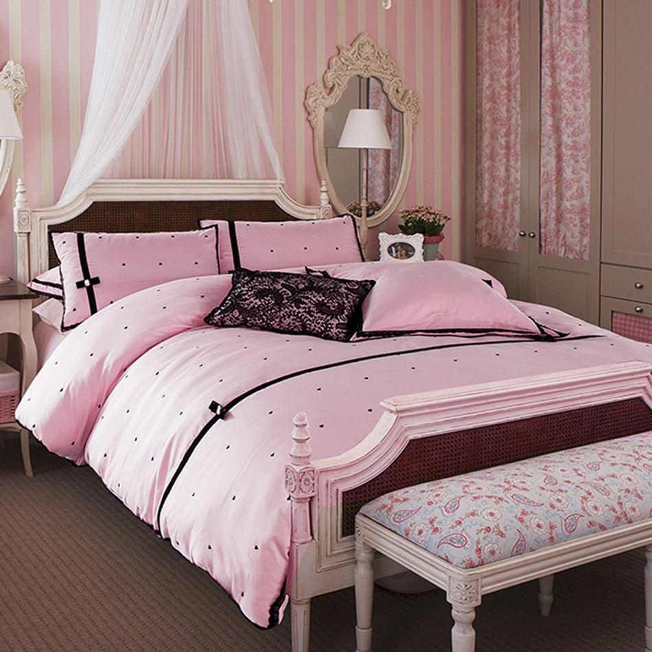 Black Love Dots Bed Linen Pink Princess Style Bedding Sets For Girls Including Pillowcases Sheet And Duvet Cover White King Size Gray Twin