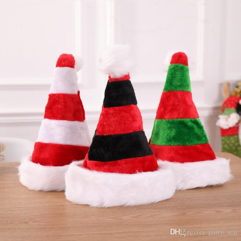 e7b466a768295 High Grade Plush Stripe Christmas Hat Bar Club Party Personality Christmas  Cap Christmas Decoration Props Adult Children Available Crazy Party Hat  Crazy ...