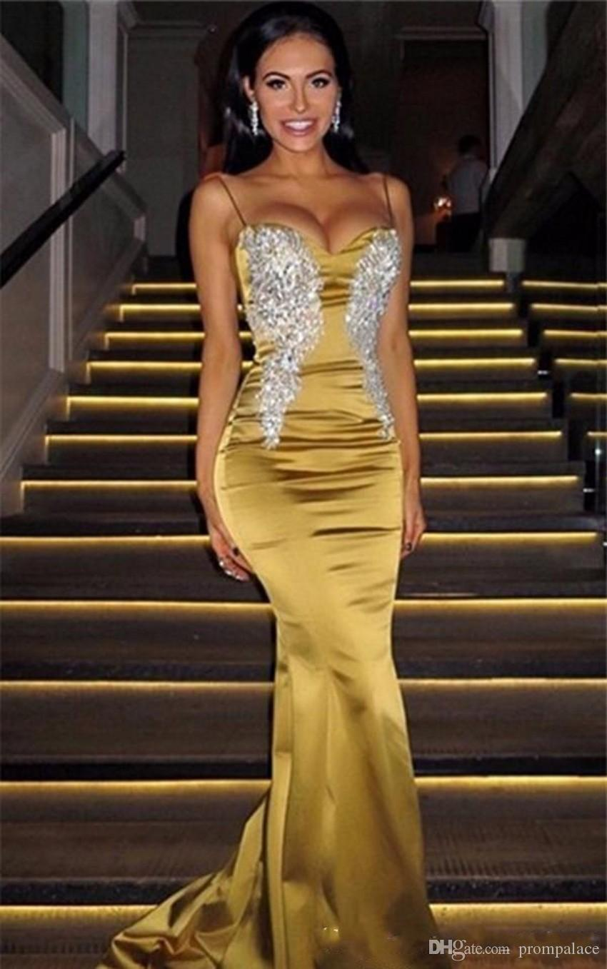 Discount Spaghetti Prom Dresses Sleeveless V Neck And Appliques Sweep Train Mermaid Formal Evening Dresses Wear