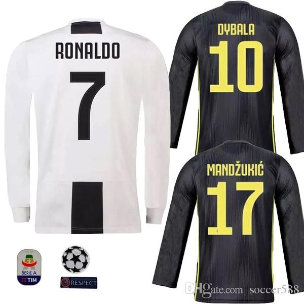 fbb72c5d29e 2019 Long Sleeve RONALDO 18 19 Juventus Soccer Jersey 2019 DYBALA MANDZUKIC  BERNARDESCHI CHIELLINI Football Shirt PJANIC Champion League Jerseys From  ...