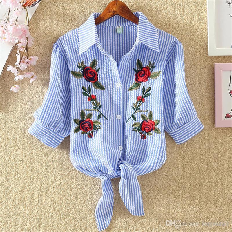 Women Blouse Embroidery Shirts 2018 Korean Short Sleeve Flower