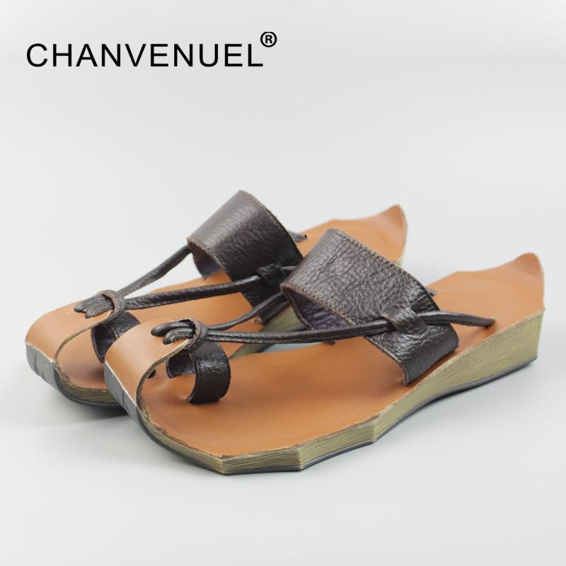 big clearance sale 100% satisfaction new & pre-owned designer Summer Genuine Leather Women s Sandals Closed Toe Flip Flops For Women  Women Beach Casual Slippers Top Quality Ladies Shoe Slipp