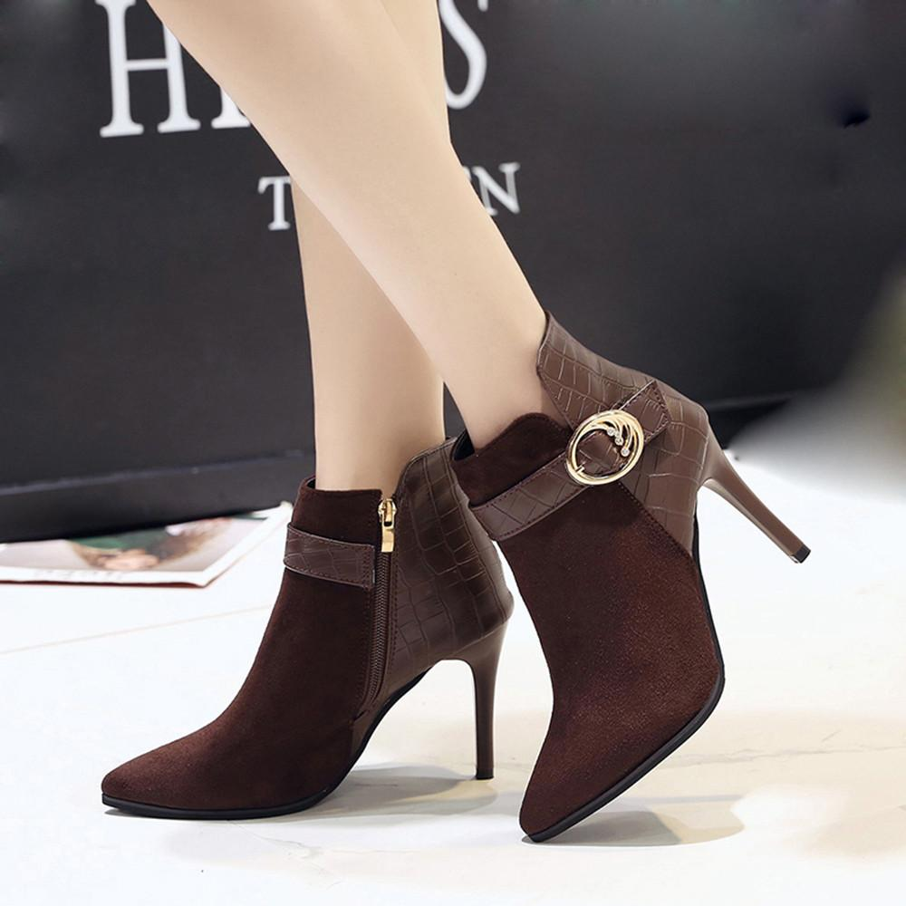 YOUYEDIAN Women Boots 2018 Fashion Buckle Ankle Boots For Women Thin Heel  Autumn Female Shoes Super High Heel Bottes Femme Chelsea Boots Shoes Online  From ... 4a3c982238ac