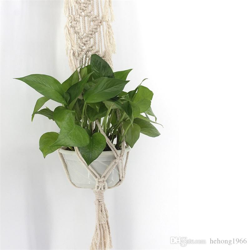 Hanging Basket Bohemia Weave Tapestry Handmade Simple White Wall Decorate Flower Pot Planters Net Pendant Tassels 13 5jj V