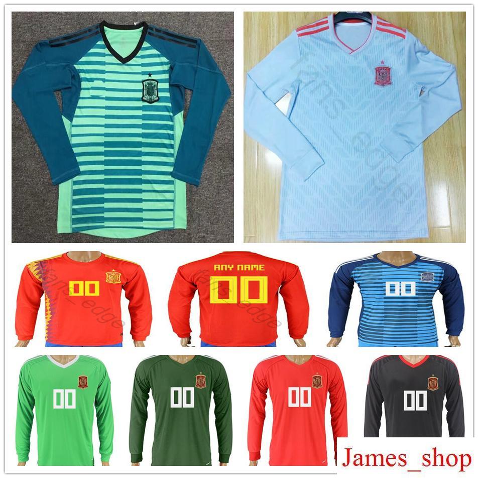 f14e263f7d5 ... shop 2018 2018 spain world cup long sleeve soccer jerseys goalkeeper  custom 1 de gea iker