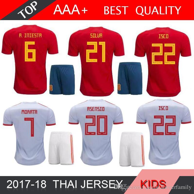 2019 ISCO A.INIESTA 2018 World Cup Spain Home Soccer Jersey Kids Kits 2017  MORATA ASENSIO FABREGAS SILVA RAMOS Away Espana Child Football Shirts From  ... 1a5447e0c