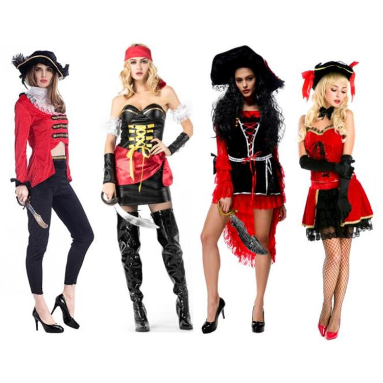 2018 New Sexy Women Pirate Costume High Quality Cosplay Buccaneer Halloween  Women Pirate Dress Multicolor Female Pirate Costumes Best Halloween Group  ... 7a7a40f14