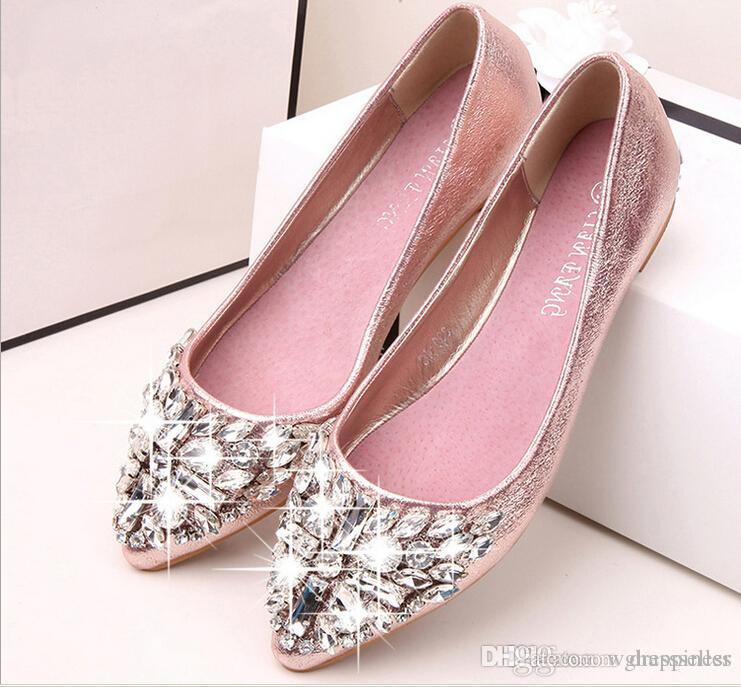 Full Size Stock 2018 Pink Champagne Wedding Shoes Silver Pointed Toe Beads  Crystals Bridal Shoes Special Shoes Prom Girls Flats BOOTS Red Satin  Wedding ...