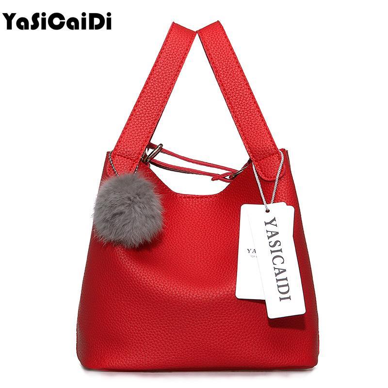 81b0067a5fb5 Top Handle Women Bags Fashion Women S Pu Leather Handbags Black Women Bag  Tassel Fur Bag Ball High Quality Small Bucket Bags Sac Y18102504 Red  Handbags Pink ...