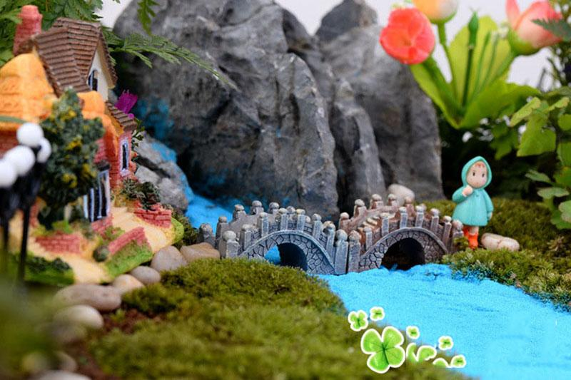 5*2.5cm Resin Mini Bridge Miniature Landscape Fairy Garden Moss Terrarium Decoration Tool Garden Crafts DHL Shipping Free