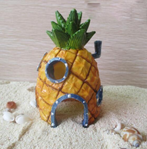Aquarium Aménagement paysager Ananas Artificiel Maison Fish Tank Décor Aquatique Résine Dessins Animés Décoration Crevettes Abri Décorations Maison D'ananas
