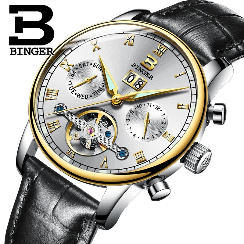 634aaa785165 Compre Suiza BINGER Reloj De Caballero Marca De Lujo Tourbillon Fulll Acero  Inoxidable Resistente Al Agua Relojes De Pulsera Mecánicos B 8604 8 A   267.82 ...