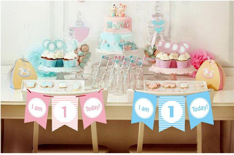 2019 1 Year Old Baby Glitter Happy Birthday Banner Gold Letters Hanging Garlands Pastel Pink String Flags Shower Party Decor From Huojuhua