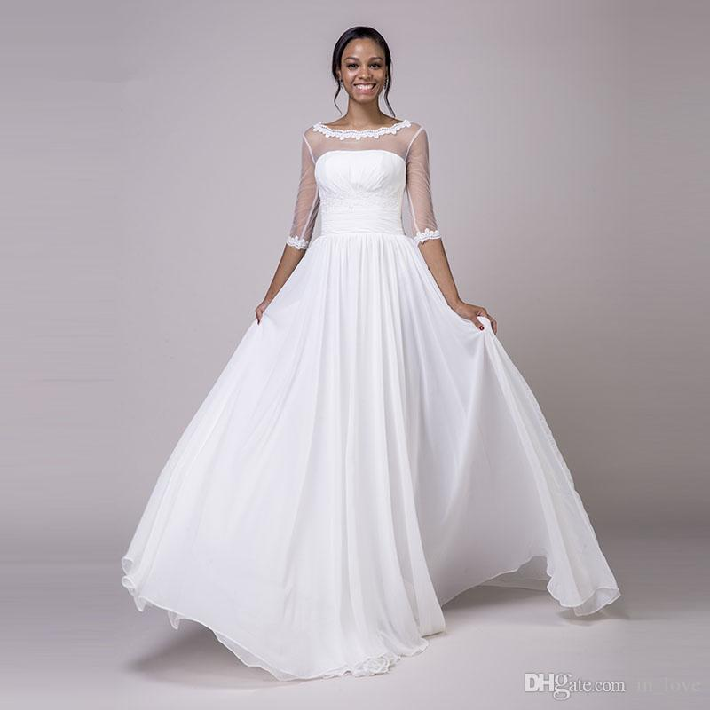 Discount Sheer Neck Half Sleeve Wedding Dress Boat Neck Lace See ...
