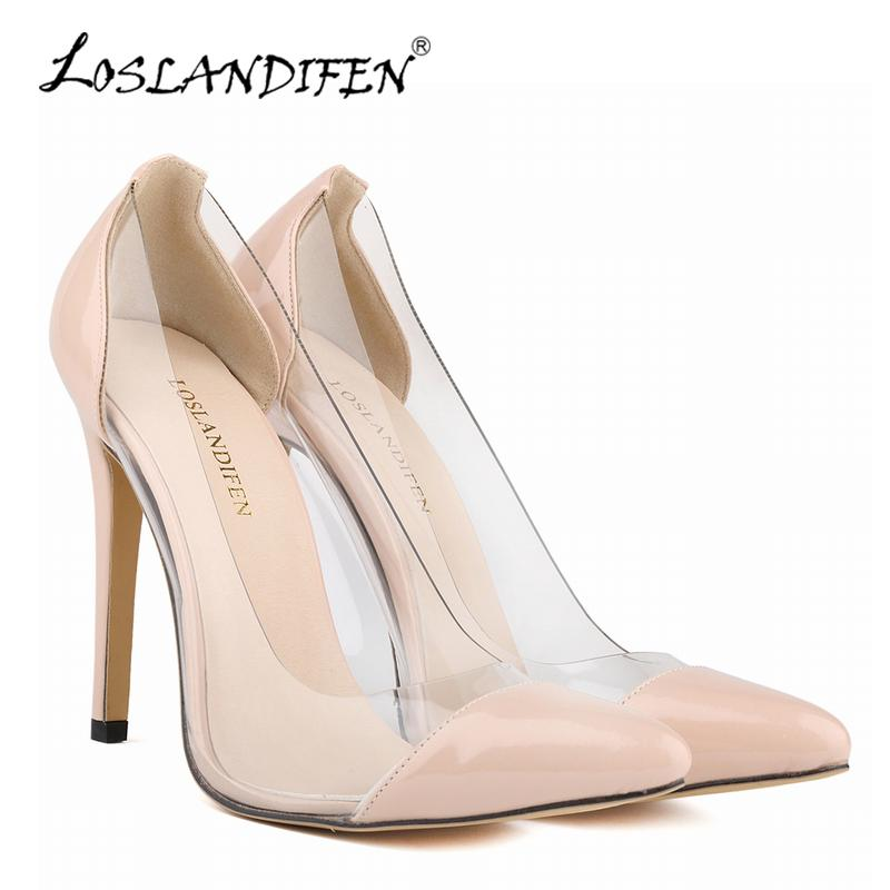 6f7194269308 LOSLANDIFEN Woman High Heels Shoes Patent Leather Pumps Pointed Toe Thin  Heel Pumps Fashion Party Elegant Wedding Shoes For Lady 302 27PA Cheap Shoes  For ...
