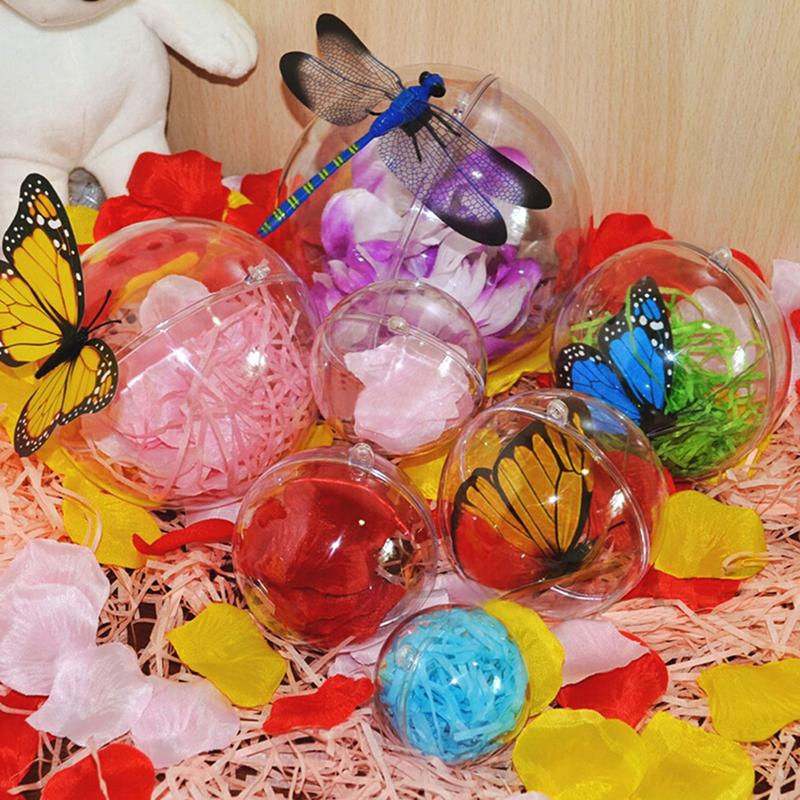 5pcs 4/5/7/8cm Christmas Candy Chocolates Box Clear Christmas Decor Hanging Round Ball Baubles Ornament Xmas Tree Home Decor