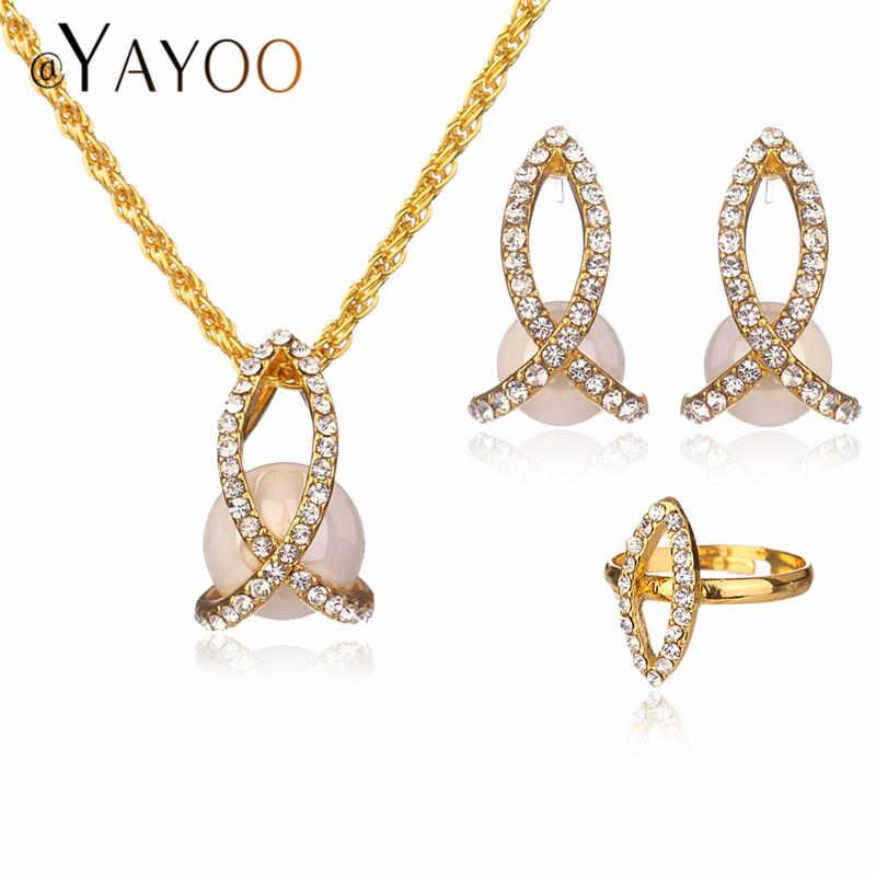 9bdf33f80 AYAYOO Fashion Women Jewelry Sets Necklaces Bridal Wedding ...