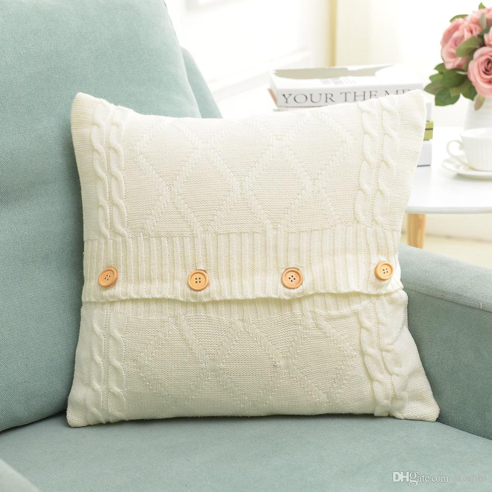 20 Designs Knitted Pillow Case Cover European Crochet Button Chevron Sofa Car Cushion Cover Home Decor Christmas XMAS Gifts 45*45cm WX9-215