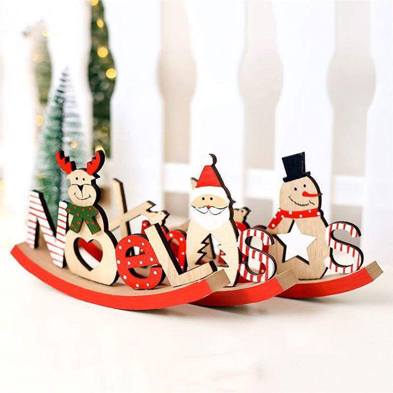 Noel Santa Snowman Elk Painted Letters Ornaments Natal Christmas Dinner Table Wooden Decor Christmas Decoration For Home Navidad Y18102909