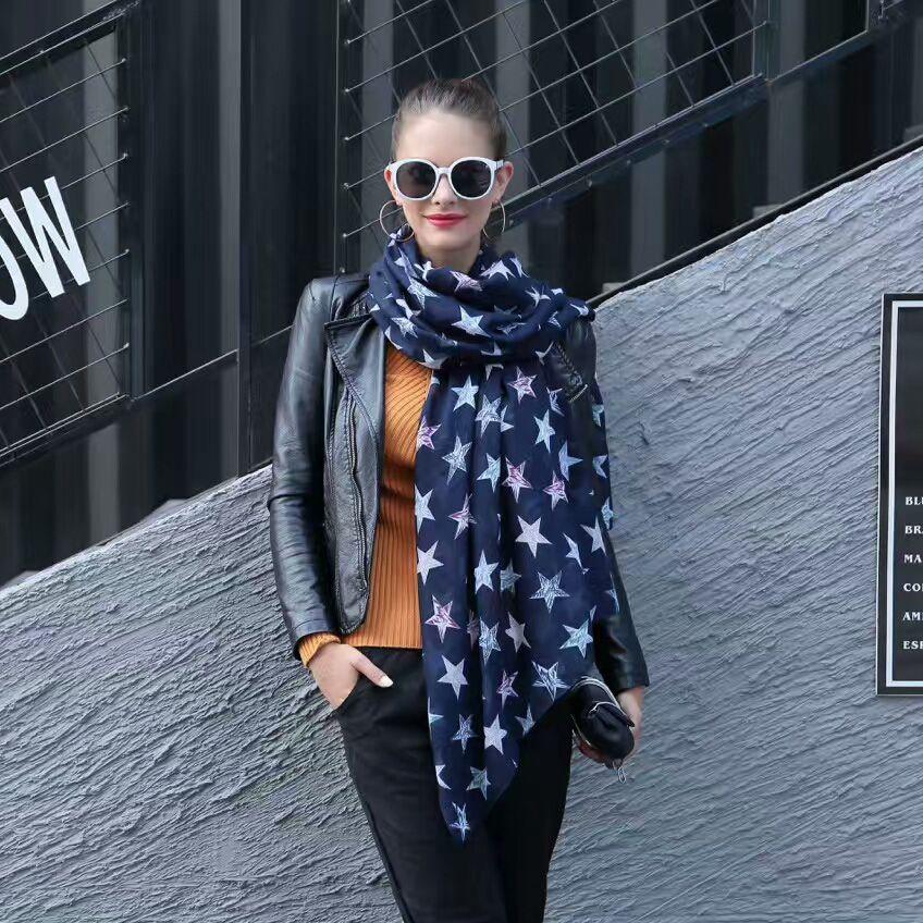 c61dfdd4db51b Designer Viscose Scarf Star Printing Fashion Women Scarf Lightweight ...