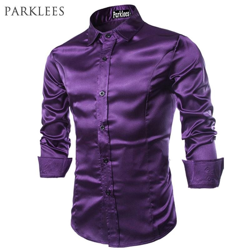2019 New Men Shirt Long Sleeve Chemise Homme 2016 Fashion Design Purple Mens  Silk Shirt Slim Tuxedo Dress Shirts Brand Camisa Social D18102408 From  Yizhan04 ... 741d3b41c84