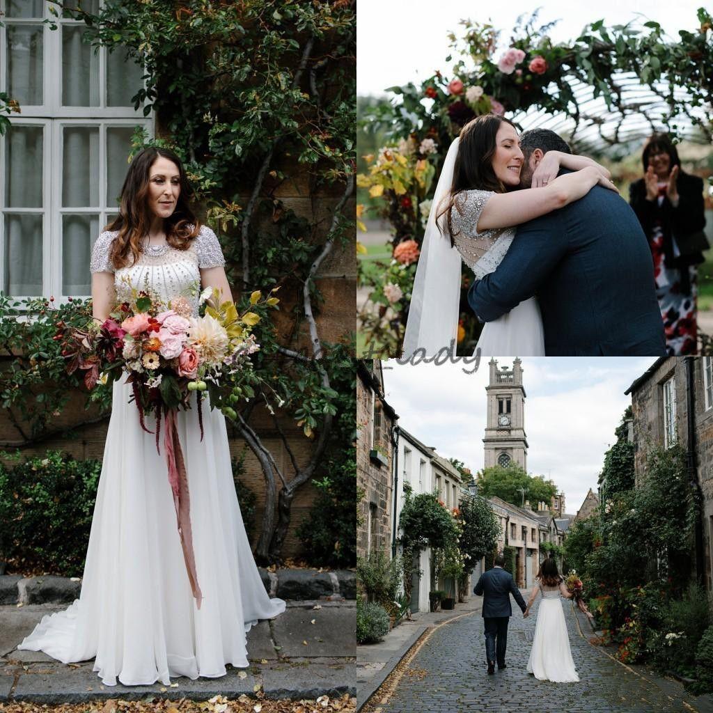 2018 Garden Jenny Packham Wedding Dresses Shining Rhinestones Beaded Zipper Back A Line Short Sleeve Fairytale Outdoor Bridal Gown