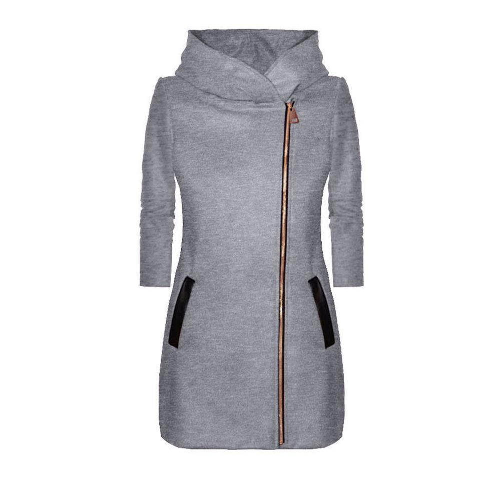 4e99908526 2018 Ladies Winter High Collar Hooded Colorblock Zipper Long Sleeve Coat  Hooded Solid Zipper Long-sleeved Coat Woman Jacket C18110601 Online with ...
