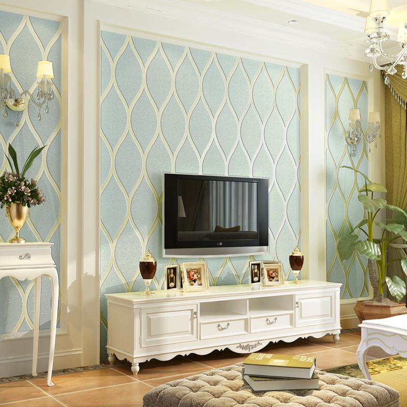 Acquista Modern Modern Stripes Non Tessuto Flocking Wallpaper TV ...