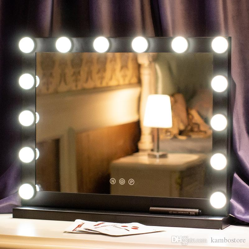 Lighted Tabletop Makeup Mirror With Dimmable Led Lights High