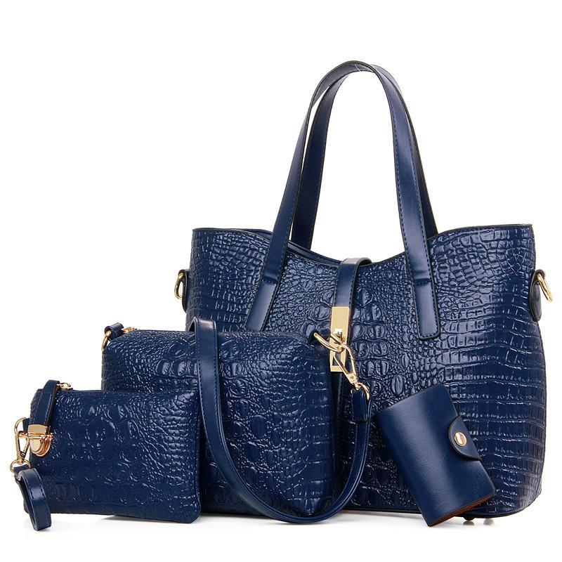 Luxury Handbags New Ladies Single Shoulder Cross Handbag Four Pieces Sets  Alligator Leather Bag Solid Zipper Fashion Women Wallets Bags Cute Bags  Purses For ... 5812b48271