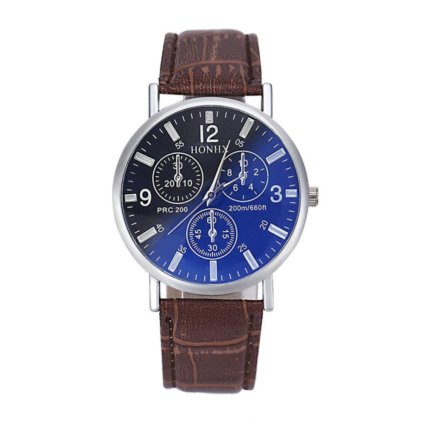 Timezone#301 Business style Mens Luxury Crocodile Faux Leather Analog Blu-Ray Business Wrist Watch Free Shipping