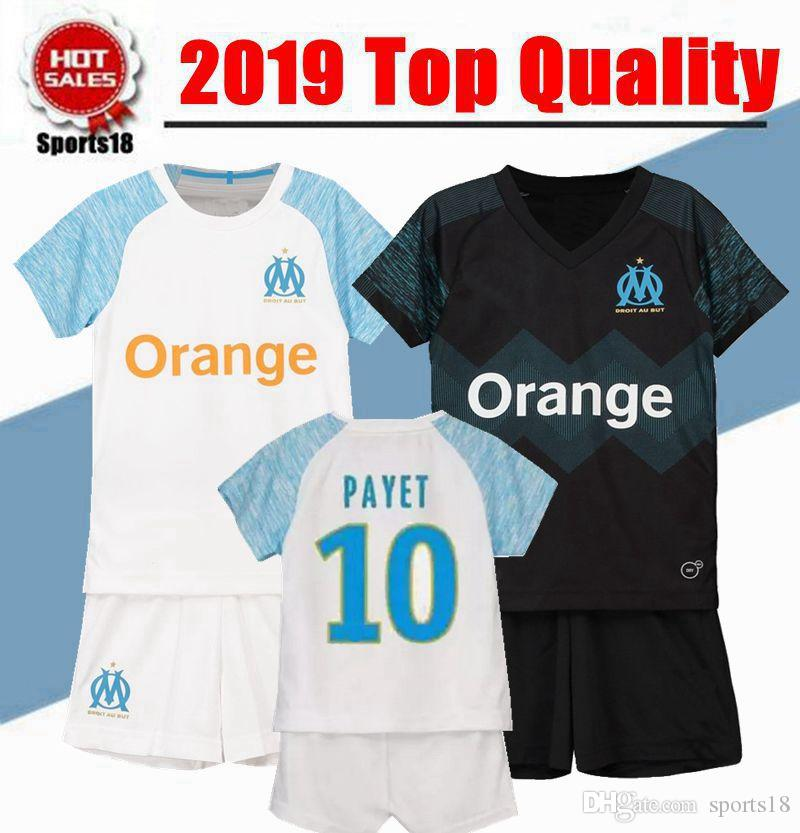 368f70388e2 Kids Kit Olympique De Marseille Soccer Jersey 2018 2019 PAYET L ...