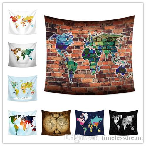World Map Tapestry Wall Hanging Tapestry 150 130cm Beach Towel Yoga