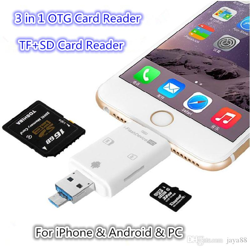 timeless design 94278 5773b 3in1 Micro USB Reader Micro SD SDHC TF SD Card For iPhone x 8 7  Samsung/LG/HTC Andrid OTG Phones
