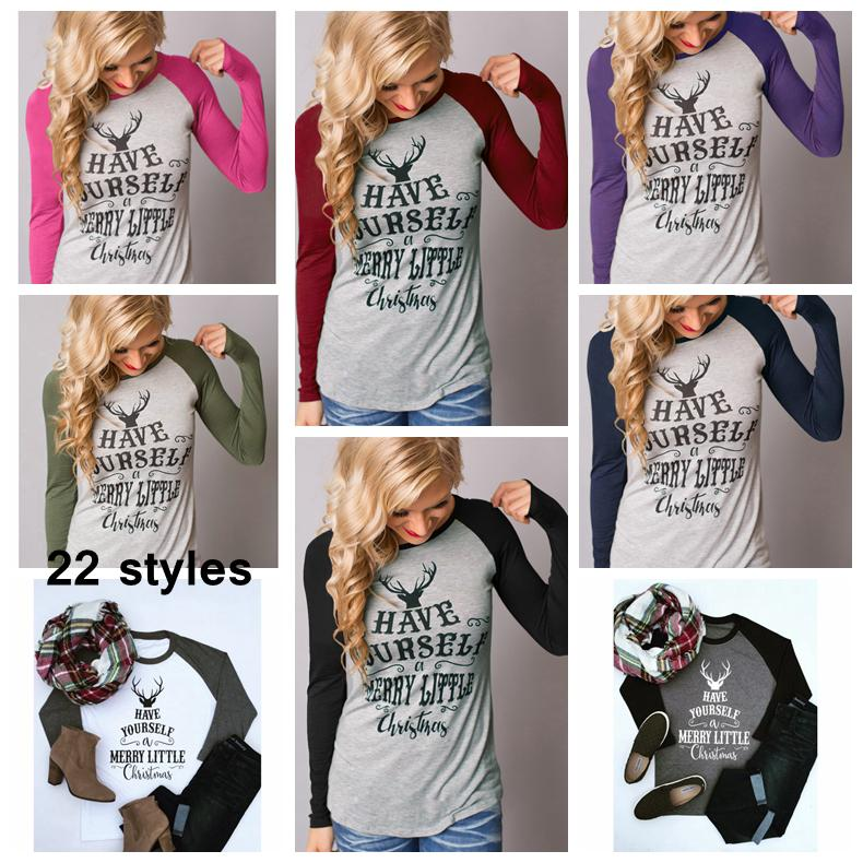 22styles girls christmas elk t shirt women autum winter stripe patchwork long sleeve o neck letter tee tops clothing shirts ladies aaa1043 cheap boys shirts - Christmas Shirts For Girls