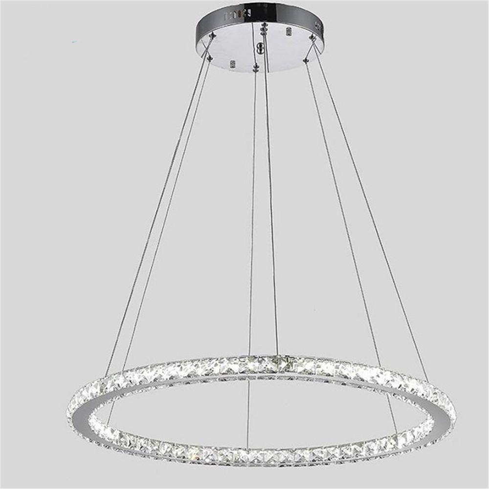 Modern 60 70 90cm Crystal Led Chandeliers Ceiling Lights: Modern D60cm D70cm D80cm LED Ring Chandelier 30W 36W 42W