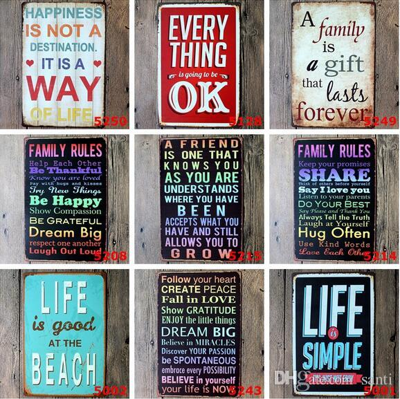 Poem Funny Family Life Kitchen Rule Quote Metal Painting Store Vintage  Posters Wall art Decor