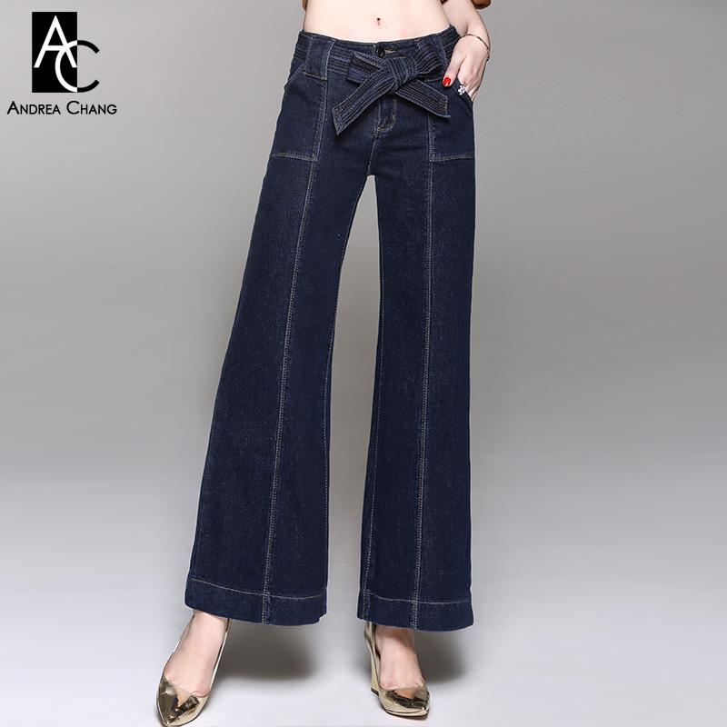 c0f5f31641 2019 Autumn Winter Woman Pants Jeans Dark Blue Denim Pants With Pockets  Waist Belt Sash Wide Leg Fashion Elastic Cotton Jeans From Genguo