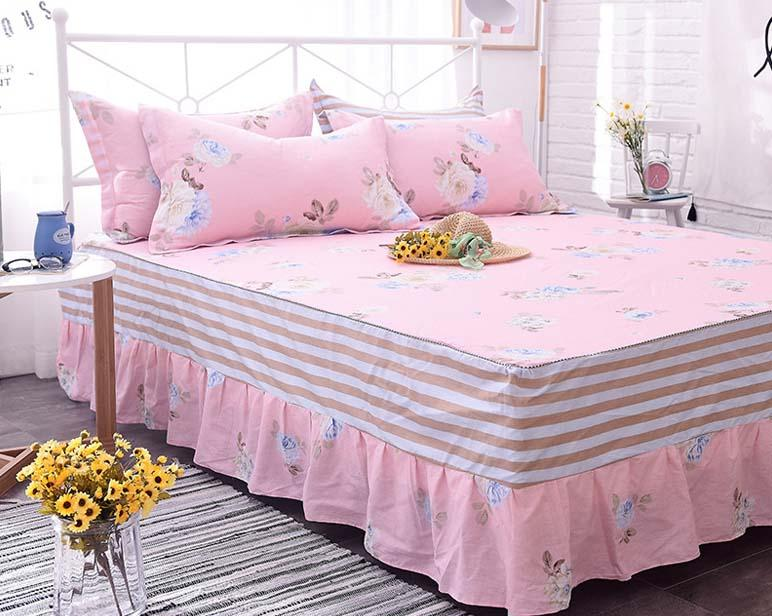 Pink 100 Cotton Twin Full Queen Size Cotton Bed Skirt With Elastic