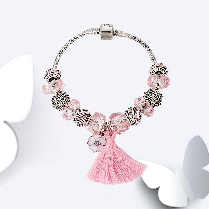 86feeaf53 Cute Women's Blue Pink tassel Bracelet for Pandora 925 Sterling Silver  plated Charm Snake Chain Bracelets