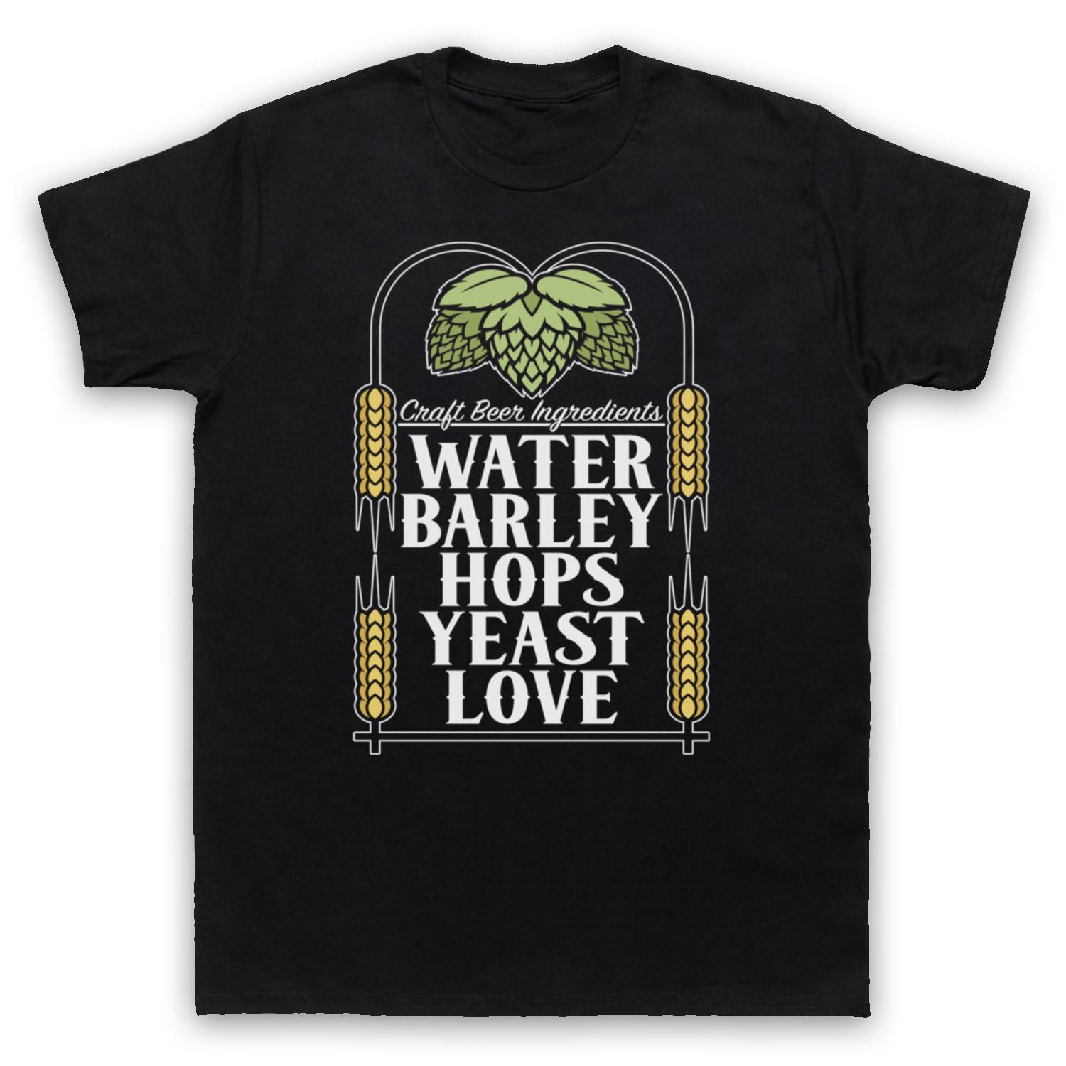 Craft Beer Ingredients Water Barley Hops Yeast Love Mens Womens Kids