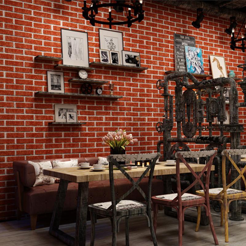 Grosshandel Ziegel Tapete Retro Kuche Restaurant Selbstklebende