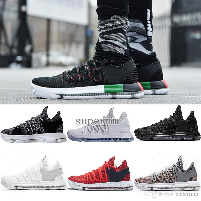 newest b79e3 5cf76 2018 Chaussures 11 KD Mens Basketball Shoes KD 10 Sneakers Triple White BHM  Oreo Anniversary Elite Kevin Durant 10s Trainers Zapatos 7 12 Sports Shoes  ...