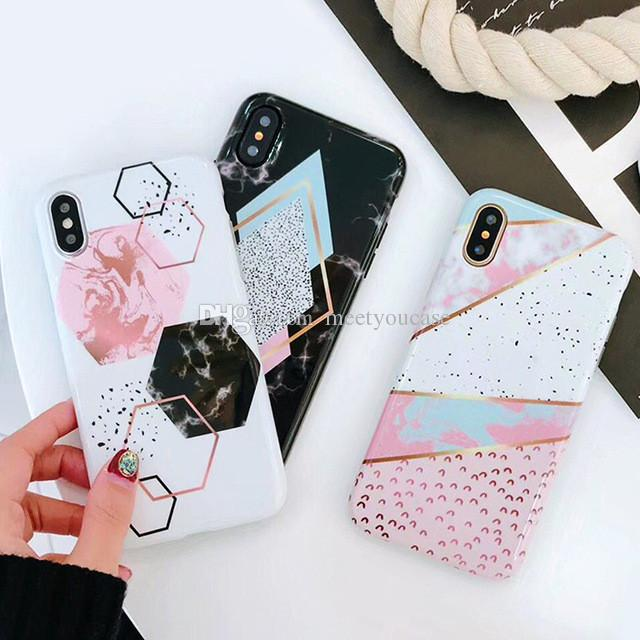 24ebe128b9 Candy Color Marble Phone Case Cover For Iphone 6S 6 7 8 Plus X Funny  Geometry Splice Pattern Cases Retro Cover With Screen Protector Leather Phone  Case Make ...