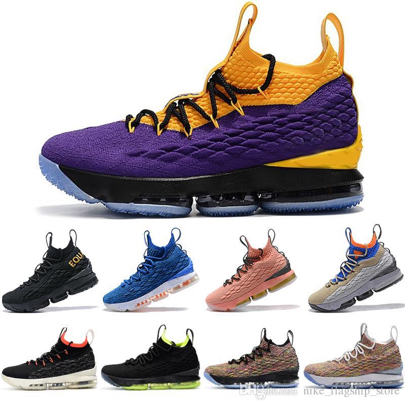 super popular c81be 5ecaa Acquista Nike Lebron James 15 Lebrons 15s New Purple Rain Scarpe Da Basket  Fruttato Ciottoli Crimson Vlot Uguali Waffle Mowabb Hollywood Designer  Scarpe Da ...
