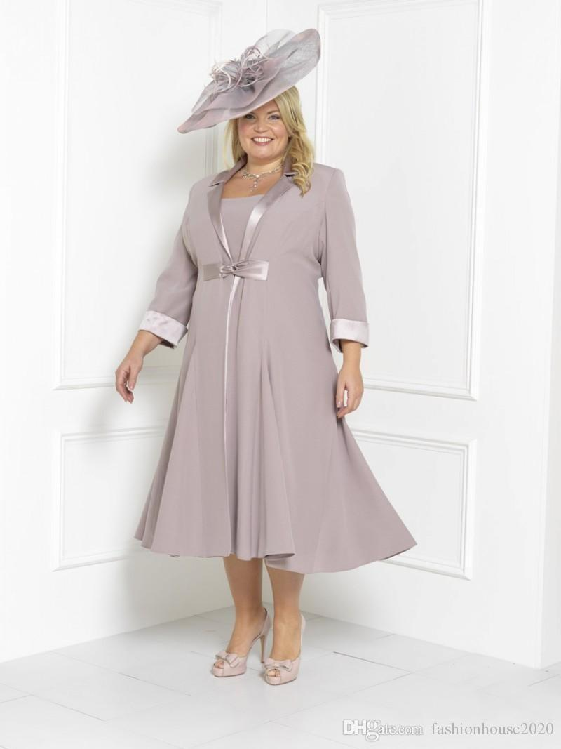 2018 Cheap Plus Size Mother Of The Bride Dresses 3/4 Long Sleeves With Jacket Tea Length Column Formal Wedding Guest Evening Gowns