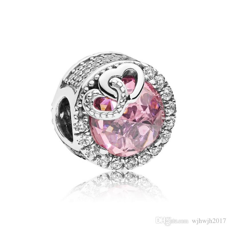7dcf645cd 2019 2018 New Authentic 925 Sterling Silver Bead Charm Entwined Love Heart  With Pink Crystal Beads Fit Pandora Bracelet Bangle Diy Jewelry From  Wjhwjh2017, ...
