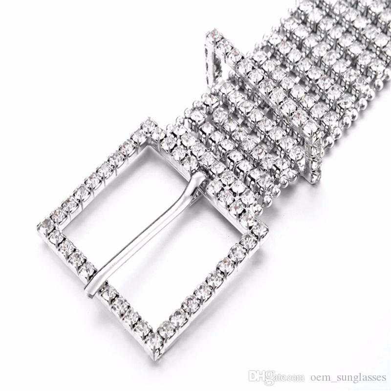 Luxury Metal Chain Elastic Belts Women Diamante Crystal Chain Belt 8 Rows Rhinestone Wide Bling Female Waist Belt For Ladies